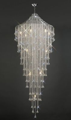 Diyas Inina Tall Crystal 15 Light Pendant Polished Chrome Frame from KES Lighting, one of the UK's leading suppliers of Ceiling Lights online. Crystal Chandelier Lighting, Chandelier Ceiling Lights, Glass Chandelier, Ceiling Pendant, Light Pendant, Crystal Lights, Bubble Chandelier, Crystal Ceiling Light, Pendant Lamps