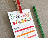 Cute printable card to help kids keep track  of their fruit and veggie intake!  Love Paper and Pip products on Etsy.