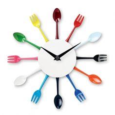 Prik de tijd Hoe bestek is het? Het is nu witte lepel over groene lepel, dus we hebben nog 5 vorken de tijd...... Wandklok die werkt op 1 AA batterij. De batterijen verkopen we ook, 4 stuks oor € 1.