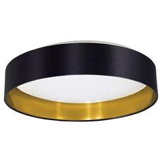 Eglo 31622 Maserlo LED Glossy Black & Gold Fabric Modern Flush Ceiling Light 405mm (Eglo Lighting 31622) - discounthomelighting