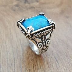 Handmade 925K Sterling Silver Mens Ring With Howlite | Etsy Mens Gemstone Rings, Sterling Silver Mens Rings, Jewelry Stores Near Me, Silver Pendant Necklace, Silver Jewelry, Silver Man, Turquoise Stone, Beautiful Rings, Rings For Men