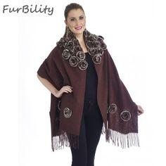 Womans Novelty Scarf Cashmere Wool Pashmina With Rex Rabbit Fur Floral Wraps Long Shawl
