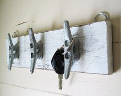 22.00-Boat Cleat Key Rack Distressed White Nautical by ProjectCottage 3.5 W X 13 LONG