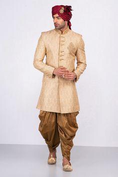 Wedding Dress Indo Western, Rent MFS Light Gold Sherwani With Antique Gold Dhoti at Flyrobe Wedding Outfits For Groom, Groom Wedding Dress, Groom Dress, Wedding Suits, Indian Groom Wear, Indian Wedding Wear, India Wedding, Sherwani Groom, Wedding Sherwani