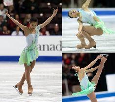Kanako Murakami, short program,  2012 Skate Canada. Green Figure Skating / Ice Skating dress inspiration for Sk8 Gr8 Designs.