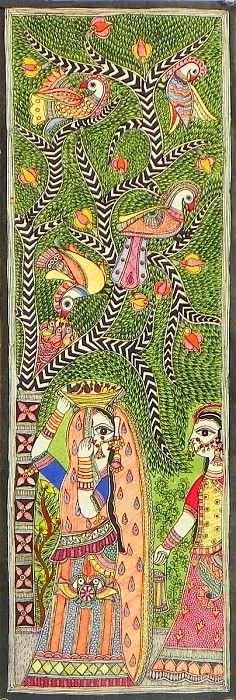 Two Rajasthani Ladies Standing Under Tree Full of Colorful Birds - Folk Art Paintings (Madhubani Folk Art on Paper - Unframed)