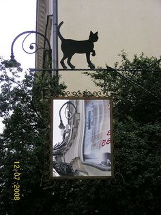 A sign hanging in Poland Cat Signs, Funny Signs, Storefront Signs, Fairytale House, Lake Art, Central And Eastern Europe, Clinic Design, Halloween Signs, Welding Art