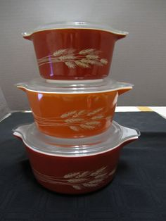 3  Pyrex Harvest Wheat Casserole Serving Dish Lid Nesting Thanksgiving Table #Pyrex