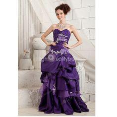 Gorgeous Purple Elegant A-line Sweetheart Taffeta Floor-length Evening Dress $178.99