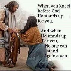 Faith Chats - when we kneel to God and believe his words, he will help us with all of our cares and worries. He loves us. Religious Quotes, Spiritual Quotes, Spiritual Meditation, Spiritual Thoughts, Spiritual Life, Faith Quotes, Bible Quotes, Jesus Christus, Quotes About God