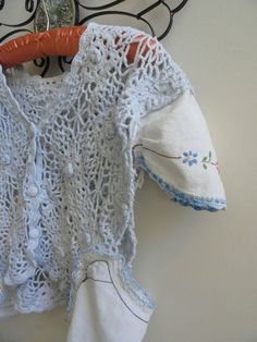 crochet vest, upcycled with vintage linens
