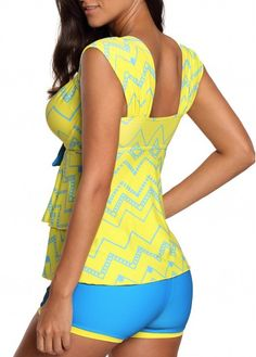 ad2dff90e8 Wide Strap Layered Hem Swimwear Top and Shorts | liligal.com - USD $31.47  Yellow. Yellow TankiniSwim Cover UpsYellow ...