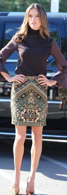 Who made  Alessandra Ambrosio's brown turtleneck sweater and beaded skirt that she wore in Los Angeles?