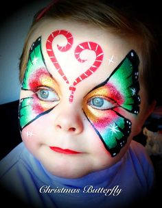 ChoppyCheeks Face Painting || Christmas butterfly, love the candy cane antennas :)