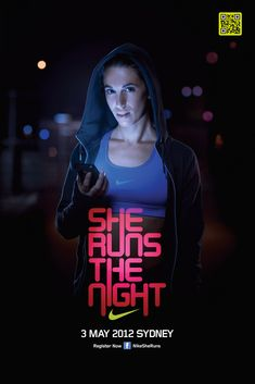 "Nike  ""She runs the night""    Advertising Agency: Us, Sydney, Australia  Executive Creative Director: Christy Peacock  Creative Director: Chad Mackenzie  Copywriter: David Roberts  Head of Art: tim chenery  Digital Project Manager: Nick Scott  Agency Producer: Trelise Caughey  Agency Producer: Corinne Porter  Senior Account Director: Kirsty Reynolds  Account manager: Brooke Doherty"