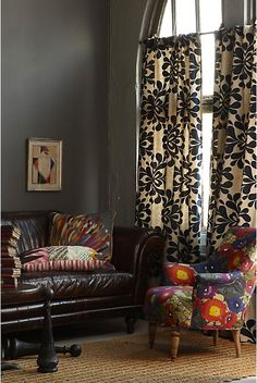 Anthropologie home decor-grey walls Curtains For Grey Walls, Home Curtains, Floral Curtains, Gray Walls, Charcoal Walls, Floral Chair, Office Curtains, Printed Curtains, Brown Walls