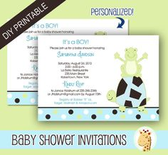 Pond Frog and Turtle Boy or Girl Baby Shower by AllPetsCherished, $12.00