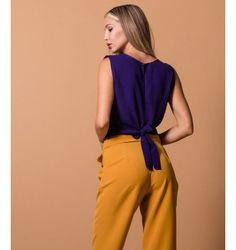 Κρουαζέ Μπλούζα από Ζορζέτα - Βιολετί Jumpsuit, Purple, Pants, Black, Dresses, Fashion, Overalls, Trouser Pants, Vestidos