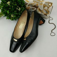 "Salvatore Ferragamo Black Pump Heels 2"""""