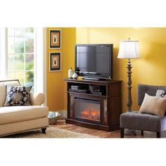 Media Fireplace, Brown - Walmart.com