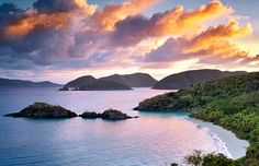 Morning wakes up Trunk Bay in St. John, U.S. Virgin Islands.