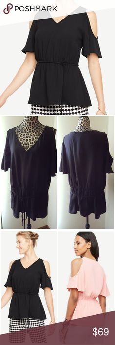 NEW Ann Taylor Cold Shoulder Top Brand new with tags  Ann Taylor Cold Shoulder Tie-waist Black Top New style online Plus size  20% off bundles or Make me an offer I'm never offended by any offer. Low ball offers welcome.  So, go ahead and low ball me, the worst case scenario is that I'll counter offer.  No trades Ann Taylor Tops Blouses