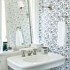 Blue Bathroom | SouthernLiving.com | #SLIdeaHouse