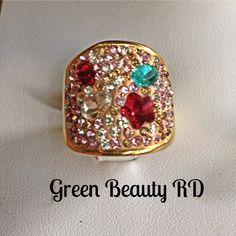 ANI-0014 Anillo Cuadrado Piedras Multicolor, Acero Inoxidable Size 6 y 7