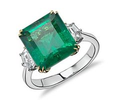 Emerald and Diamond Three-Stone Ring in 18k White and Yellow Gold (5.74 cts) #BlueNile