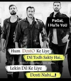Tassu #FriendshipQuotesdistance Quotes In Hindi Attitude, Friendship Quotes In Hindi, Funny Quotes In Hindi, Attitude Quotes For Boys, Attitude Status, Boy Quotes, Girly Quotes, Forever Quotes, Best Friend Quotes
