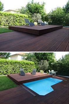 Deck Design Idea – This Raised Wood Deck Is Actually A Slidi.- Deck Design Idea – This Raised Wood Deck Is Actually A Sliding Pool Cover Deck Design Idea – This Raised Wood Deck Is Actually A Sliding Pool Cover Above Ground Pool Landscaping, Backyard Pool Landscaping, Small Backyard Pools, Backyard Patio Designs, Landscaping Ideas, Backyard Ideas, Patio Ideas, Small Patio, Pergola Ideas