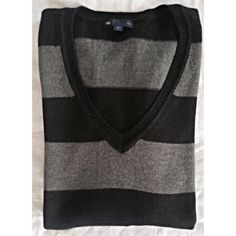 GAP V-NECK BLACK AND GREY STRIPED SWEATER Never worn knit striped sweater from Gap. Super cozy and perfect condition. Size small. GAP Tops