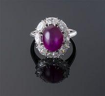 Burma No Heat Star Ruby and Diamond Ring