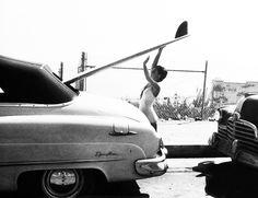 16 yr. old surfer Kathy (Gidget) Kohner in Malibu, California,1957