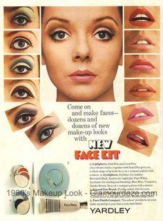 1967 Yardley ad with make up looks. eye Make up. Mod Makeup, 1960s Makeup, Retro Makeup, Makeup Inspo, Makeup Inspiration, Sixties Makeup, Makeup Kit, Beauty Ad, Beauty Makeup