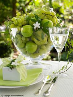 Sandra Kaminski  #wedding table setting #fruit & fauna wedding idea #place setting #green table setting