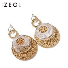 In Stock:3-5 days for processing Include: A Pair of Earrings Material: Metal,Acrylic,Dried Grass Size:Diameter 5.9cm . 10.5cm(L) Weight: 11.9g Style:Dangle&DropEarrings Return & Exchange: 14 Days Wrapping: Kraft gift box stuffed with pretty shredded tissue paper Delivery Time: 7-14 Business Days in n
