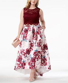Morgan & Company Trendy Plus Size Printed Lace Gown - Merlot Trendy Plus Size, Plus Size Women, Formal Dresses For Women, Gowns Online, Lace Crop Tops, Plus Size Wedding, Review Dresses, Knee Length Dresses, Cheap Dresses