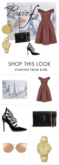 """""""Paris fall #fallgetaway"""" by blogloveheart ❤ liked on Polyvore featuring Graham & Brown, Chi Chi, Gianvito Rossi, Yves Saint Laurent, Linda Farrow, Seiko Watches and Anastasia Beverly Hills"""