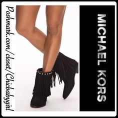 """MICHAEL KORS FRINGE SILVERTONE STUD BOOTS -Brand-new Michael Kors black suede leather fringe boots. Has a chic Silvertone Michael Kors logo on back of the heel and classy silver studs accent around ankle. Almond toe, studs and fringe at the ankle shaft, rubber soul and 1"""" stacked wood heel.✖️Sold out✖️Only available in my closet✖️Sorry no box, will package with extra care. MICHAEL Michael Kors Shoes Ankle Boots & Booties"""