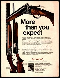 1972 BROWNING Side by Side B-SS, Automatic 5, Superposed, Shotgun AD #Browning