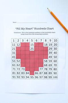 Valentines Day Hundreds Chart Activity