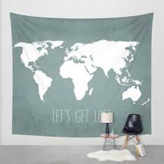 Wall Tapestry // Let's Get Lost World Map // Embroider places I've lived & visited.
