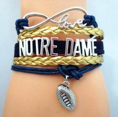 DO you love Norte Dame Football? Cutest Infinity Love Norte Dame football bracelet on the planet! Don't miss our special sale event.