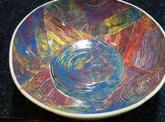 Awesome colored scratch slab bowl