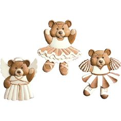INTARSIA BALLET, ANGEL AND CHEERLEADER TEDDY BEARS *