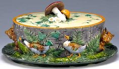 Minton majolica tureen and cover with mushroom finial Butter Bell, Butter Pasta, Butter Shrimp, Steak Butter, Wild Mushrooms, Stuffed Mushrooms, Earthenware, Stoneware, Cheese Dome