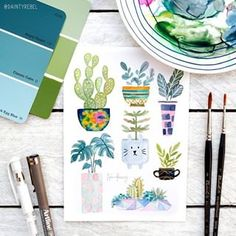 I kind of want to magic-fy this illustration by and turn the plants and vases into real plants and vases for my home. But on second thoughts this is waaay too cute and I like it just the way it is 😂 Handmade Shop, Handmade Gifts, Real Plants, Watercolor Art, Watercolor Illustration, My Emotions, Just The Way, House Plants, How To Draw Hands