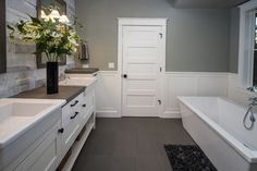 Love the wall color with the white woodwork -Tetherow - contemporary - bathroom - portland - Christian Gladu Design