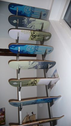 skateboards, skateboard stair, interior, idea, stairs, deck stair, decks, skateboard deck, shelv